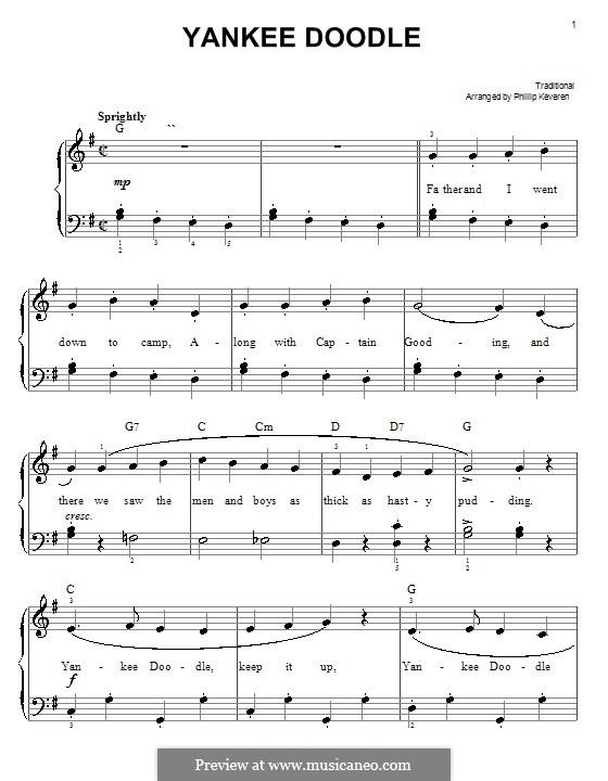 Yankee Doodle: Для фортепиано (легкий уровень) by folklore