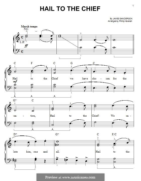 Hail to the Chief: Для фортепиано (легкий уровень) by James Sanderson