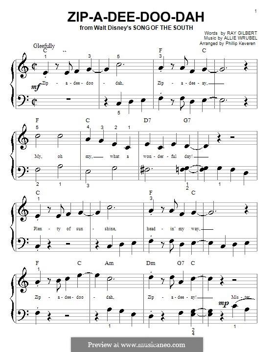 Zip-A-Dee-Doo-Dah: Для фортепиано (очень легкая версия) by Allie Wrubel