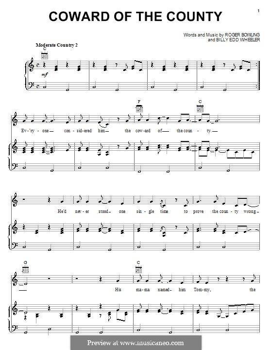 Coward of the County (Kenny Rogers): Для голоса и фортепиано (или гитары) by Billy Edd Wheeler, Roger Bowling