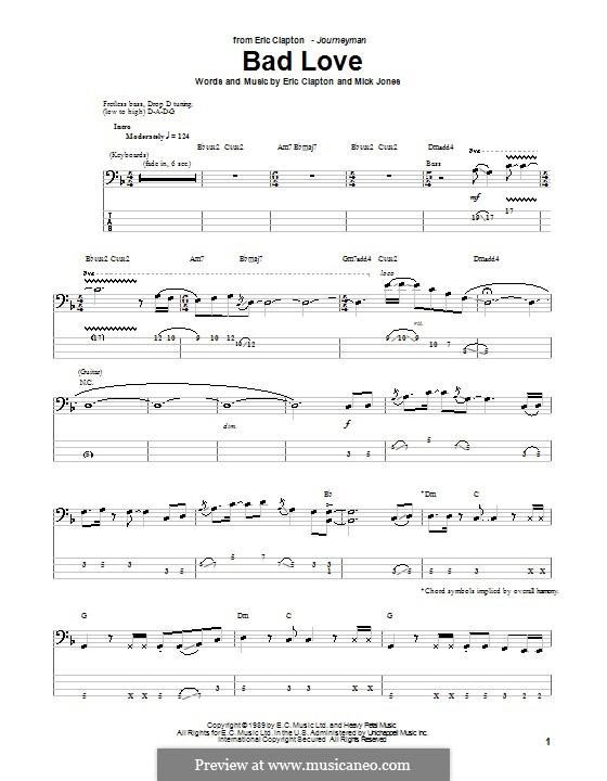 Bad Love: Для бас-гитары с табулатурой by Mick Jones