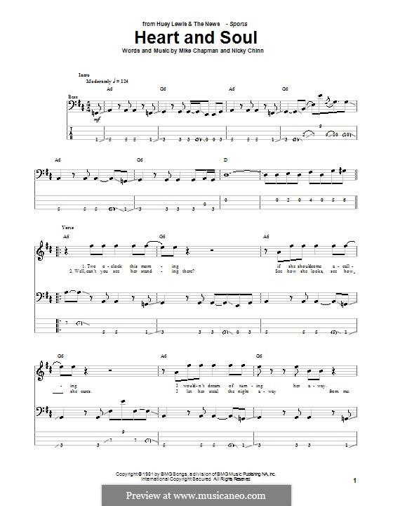 Heart and Soul (Huey Lewis and The News): Для бас-гитары с табулатурой by Mike Chapman, Nicky Chinn
