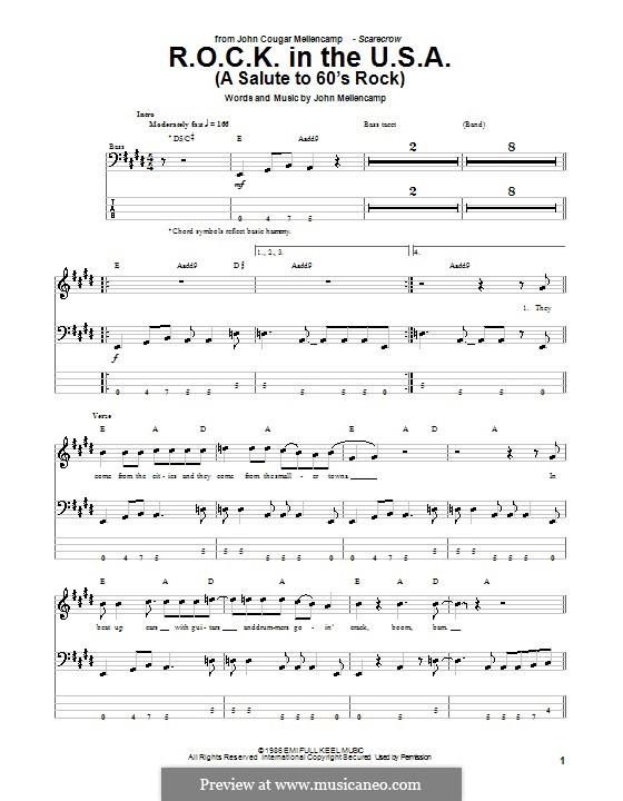 R.O.C.K. in the U.S.A. (A Salute to 60's Rock): Для бас-гитары с табулатурой by John Mellencamp