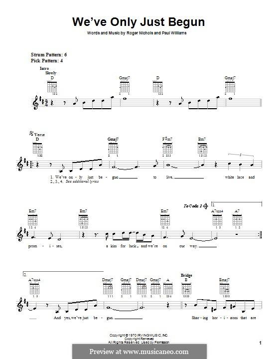 We've Only Just Begun (Carpenters): Для гитары (с вариантом боя) by Paul H. Williams, Roger Nichols