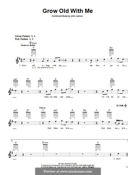 Grow Old With Me: Для гитары (с вариантом боя) by John Lennon