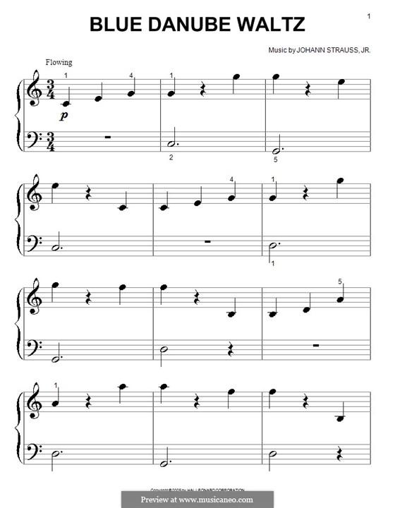 На прекрасном голубом Дунае, для фортепиано, Op.314: Очень легкая версия by Иоганн Штраус (младший)