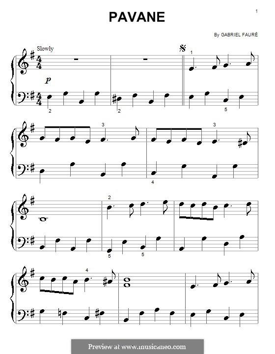 Павана, Op.50: Для фортепиано (очень легкая версия) by Габриэль Форе