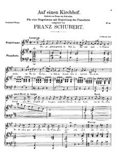 Auf einen Kirchhof (To a Churchyard), D.151: A Major by Франц Шуберт