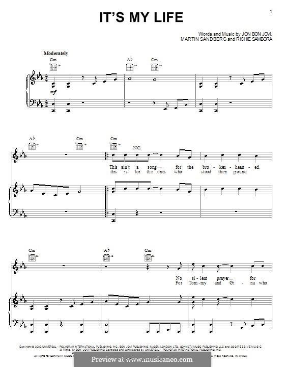 It's My Life (Bon Jovi): Для голоса и фортепиано (или гитары) by Jon Bon Jovi, Max Martin, Richie Sambora