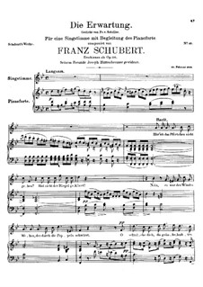 Die Erwartung (Anticipation), D.159 Op.116: For voice and piano by Франц Шуберт