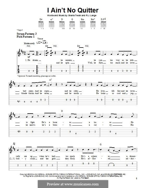 I Ain't No Quitter: Для гитары (очень легкая версия) by Robert John Lange