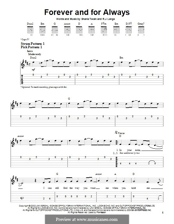 Forever and for Always: Для гитары (очень легкая версия) by Robert John Lange, Shania Twain