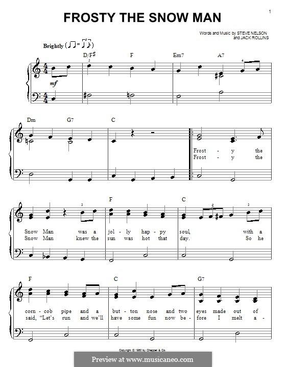 Frosty the Snow Man: Для фортепиано (легкий уровень) by Jack Rollins, Steve Nelson