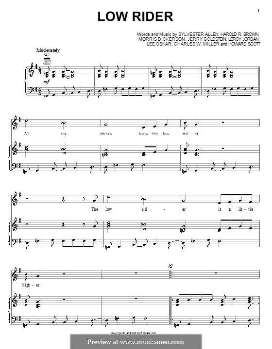 Low Rider: Для голоса и фортепиано (или гитары) by Charles W. Miller, Harold R. Brown, Howard Scott, Jerry Goldstein, Leroy Lonnie Jordan, Lee Oskar, Morris Dickerson, Sylvester Allen