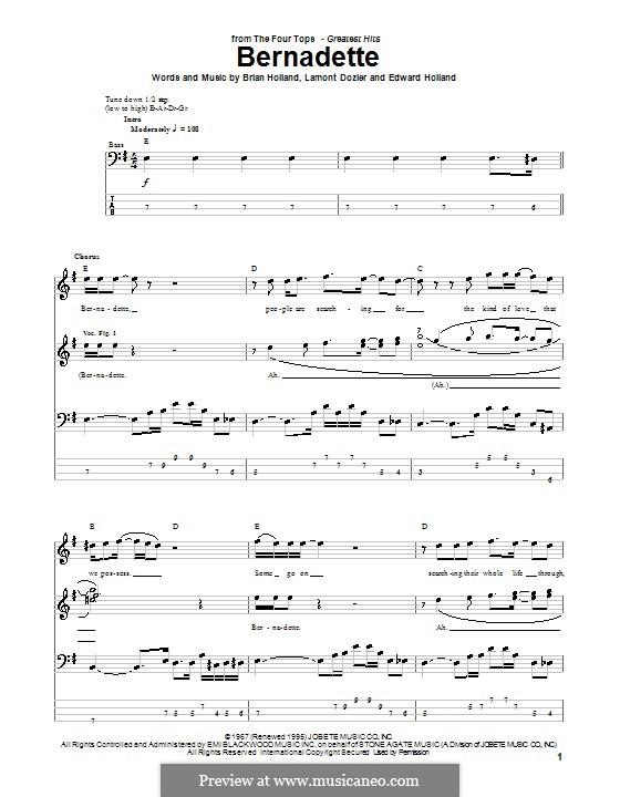 Bernadette (The Four Tops): Для бас-гитары с табулатурой by Brian Holland, Edward Holland Jr., Lamont Dozier