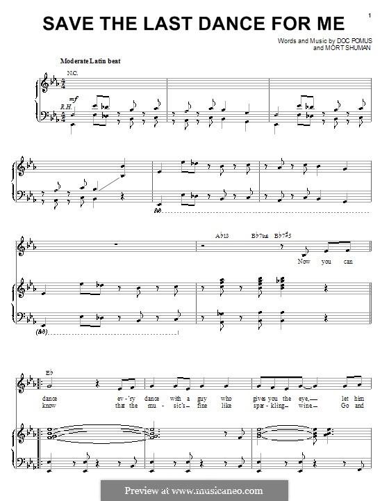 Save the Last Dance for Me (The Drifters): Для голоса и фортепиано (или гитары) by Doc Pomus, Mort Shuman