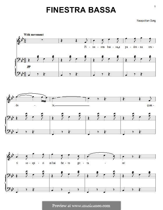 Finestra bassa: Для голоса и фортепиано (или гитары) by folklore