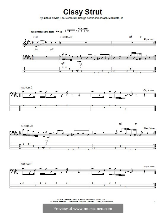 Cissy Strut (The Meters): Для бас-гитары с табулатурой by Arthur Neville, George Porter, Joseph Modeliste Jr., Leo Nocentelli
