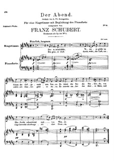 Вечер, D.221 Op.118 No.2: Си мажор by Франц Шуберт