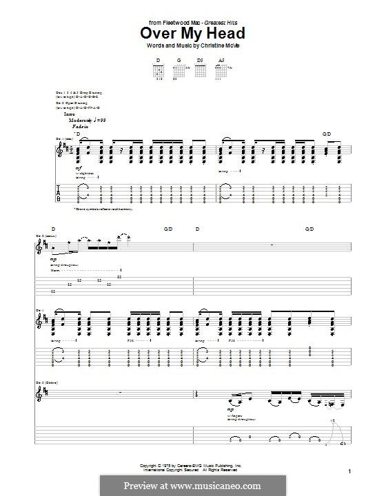 Over My Head (Fleetwood Mac): Гитарная табулатура by Christine McVie