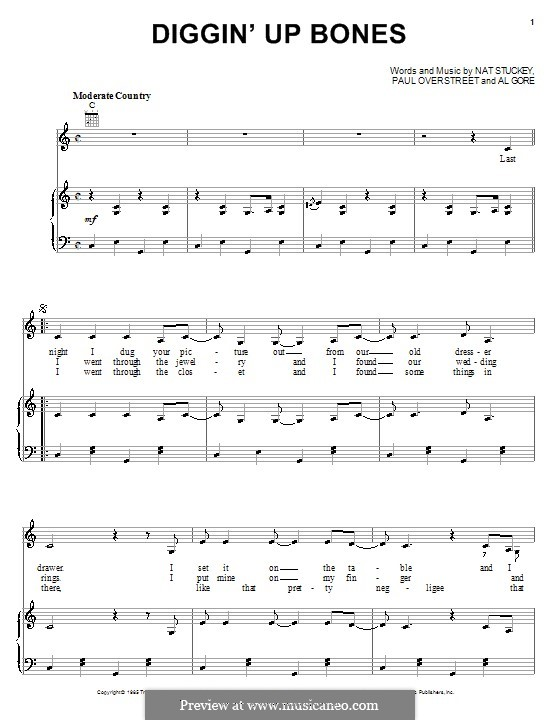 Diggin' Up Bones (Randy Travis): Для голоса и фортепиано (или гитары) by Al Gore, Nat Stuckey, Paul Overstreet