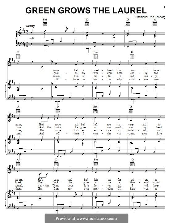 Green Grows the Laurel: Для голоса и фортепиано (или гитары) by folklore