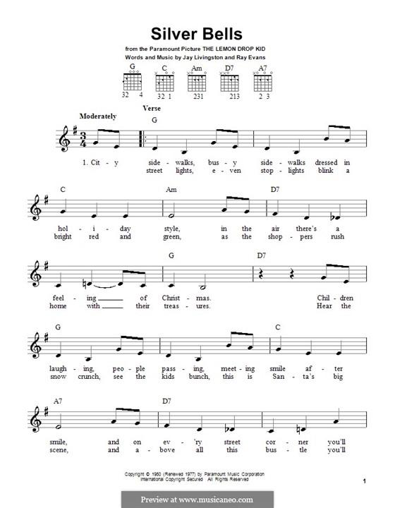 Silver Bells: Для гитары (очень легкая версия) by Jay Livingston, Raymond Evans