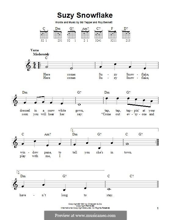 Suzy Snowflake (Rosemary Clooney): Для гитары (очень легкая версия) by Roy C. Bennett, Sid Tepper