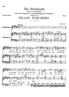 Die Mondnacht (The Moonlit Night), D.238: F sharp Major by Франц Шуберт