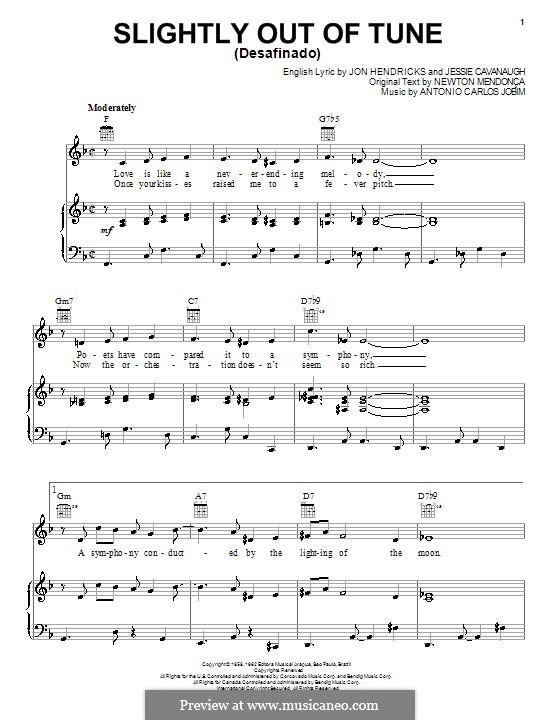 Desafinado (Slightly Out of Tune): Для голоса и фортепиано (или гитары) by Antonio Carlos Jobim
