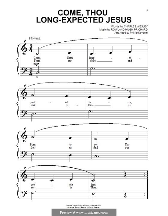 Come, Thou Long-Expected Jesus: Для фортепиано (очень легкая версия) by Rowland Huw Prichard