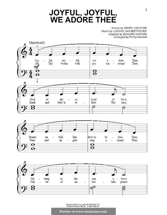 Ода к радости, для фортепиано: Очень легкая версия by Людвиг ван Бетховен