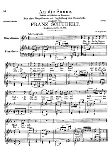 An die Sonne (To the Sun), D.270 Op.118 No.5: For voice and piano by Франц Шуберт
