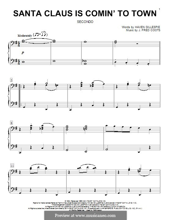 Santa Claus is Comin' to Town, for Piano: For four hands by J. Fred Coots