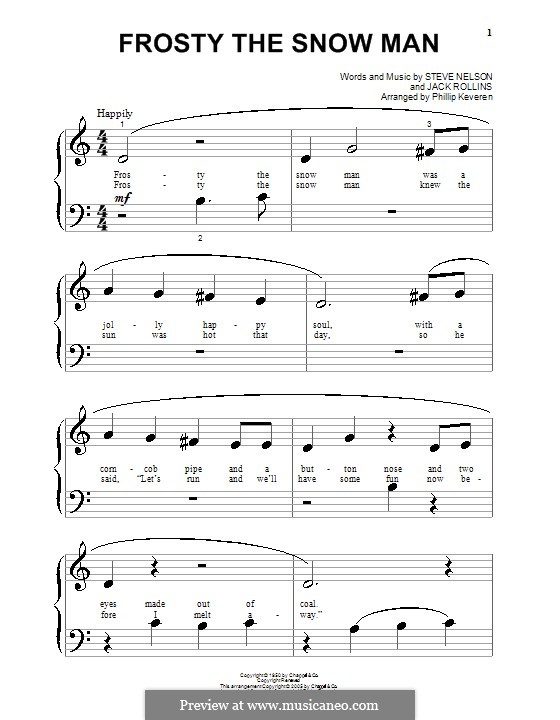 Frosty the Snow Man: Для фортепиано (очень легкая версия) by Jack Rollins, Steve Nelson