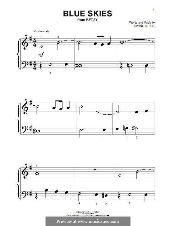 Blue Skies: Для фортепиано (очень легкая версия) by Ирвинг Берлин