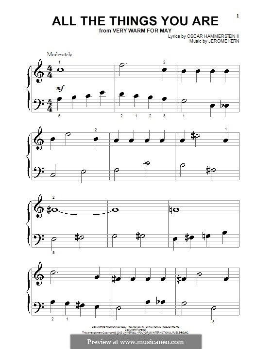 All the Things You are, for Piano: Очень легкая версия by Джером Керн