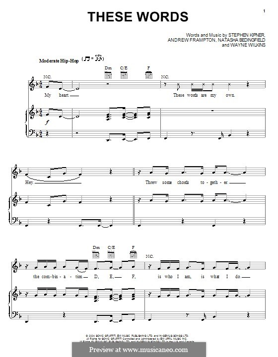 These Words (Natasha Bedingfield): Для голоса и фортепиано (или гитары) by Andrew Frampton, Stephen Alan Kipner, Wayne Wilkins