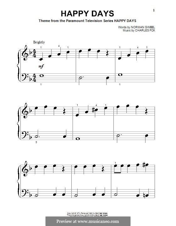 Happy Days: Для фортепиано (очень легкая версия) by Charles Fox