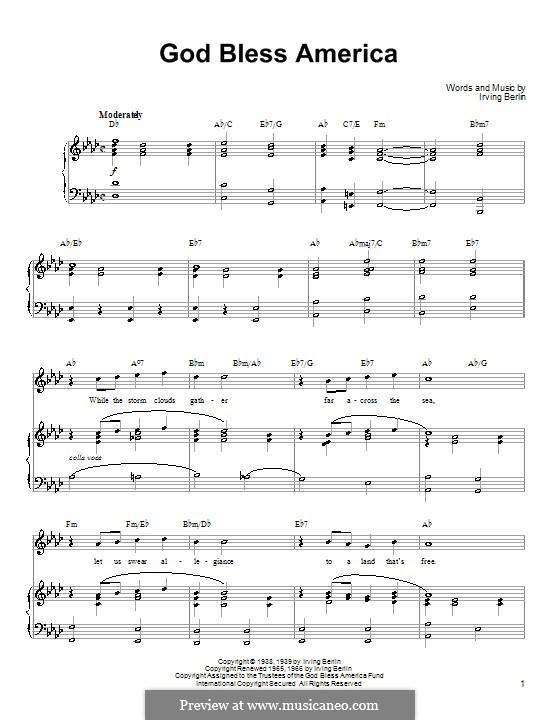 God Bless America: Для голоса и фортепиано или гитары (Ля-бемоль мажор) by Ирвинг Берлин