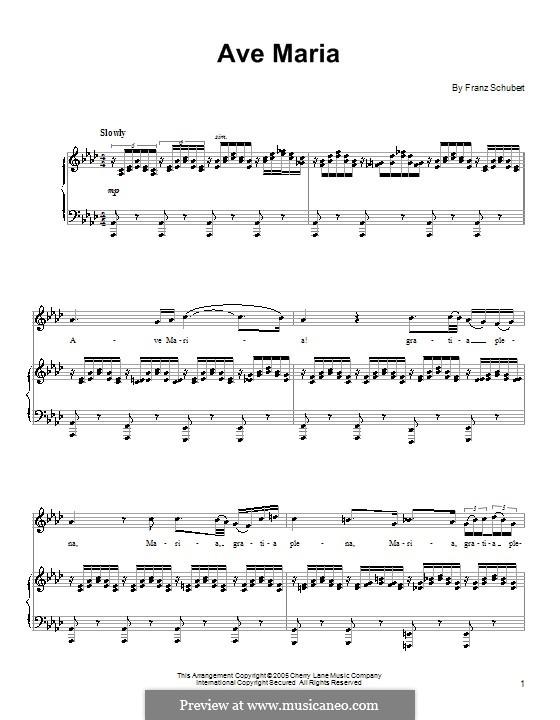 Ave Maria (Printable Scores), D.839 Op.52 No.6: Для голоса и фортепиано by Франц Шуберт