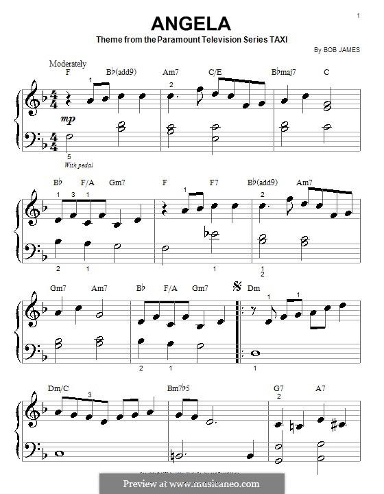Angela (theme from Taxi): Для фортепиано (очень легкая версия) by Bob James