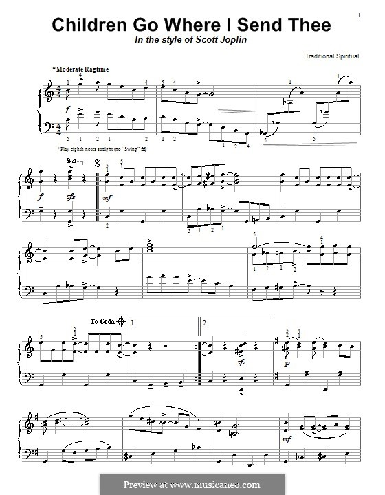 Children Go Where I Send Thee: Для фортепиано by folklore
