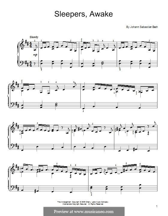 Sleepers, Awake: Для фортепиано (легкий уровень) by Иоганн Себастьян Бах