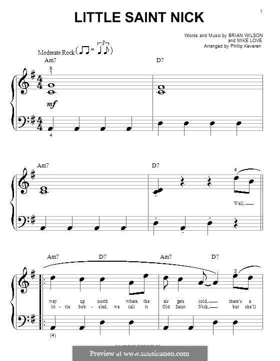 Little Saint Nick (The Beach Boys): Для фортепиано (очень легкая версия) by Brian Wilson, Mike Love