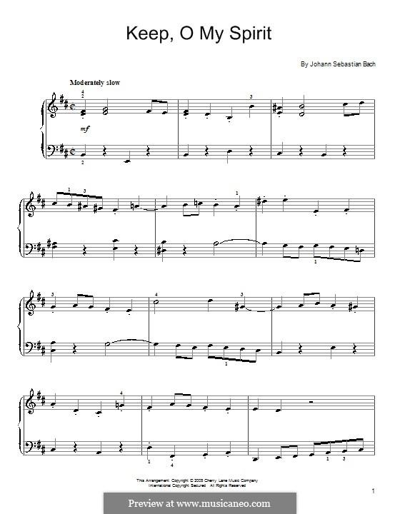 Рождественская оратория, BWV 248: Keep, o My Spirit, for piano by Иоганн Себастьян Бах