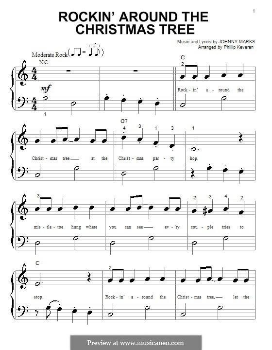 Rockin' Around the Christmas Tree: Для фортепиано (очень легкая версия) by Johnny Marks
