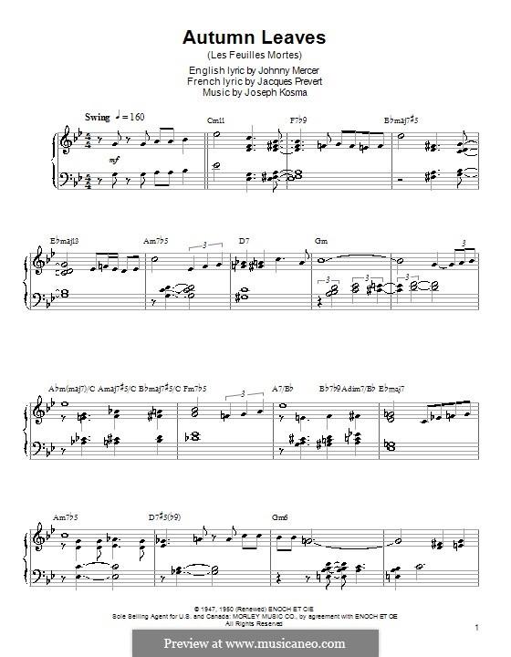 Autumn Leaves: Для фортепиано с аккордами by Joseph Kosma