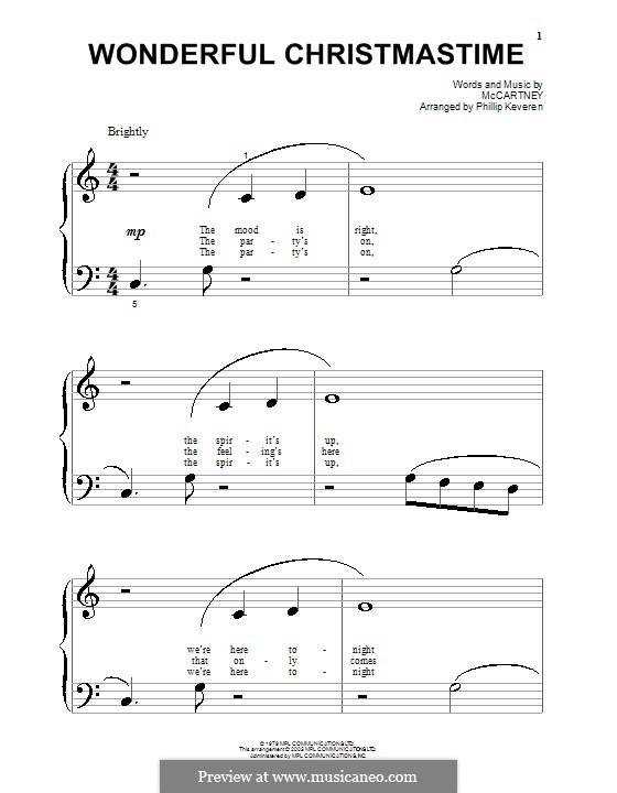 Wonderful Christmastime: Для фортепиано (очень легкая версия) by Paul McCartney
