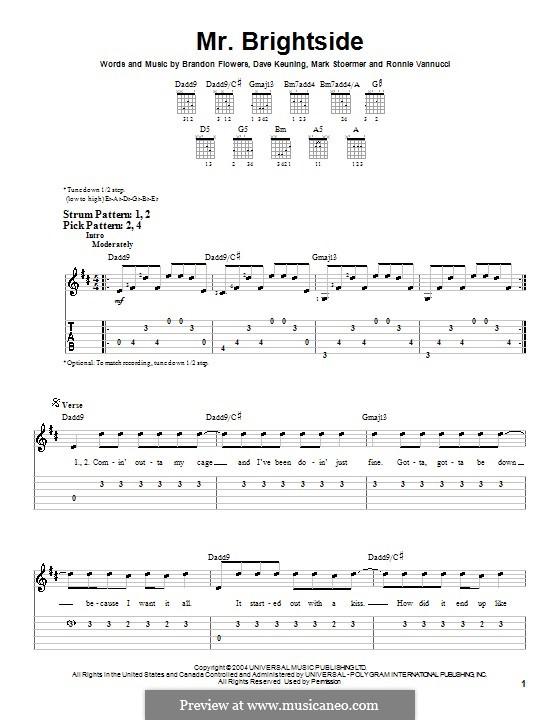 Mr. Brightside (The Killers): Для гитары (легкий уровень) с табулатурой by Brandon Flowers, Dave Keuning, Mark Stoermer, Ronnie Vannucci